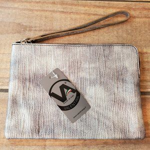 """NWT Silver Pleated Leather Wristlet Clutch 8""""x5.5"""""""